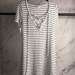AUDREY 3+1 striped dress Small NWT D4813 lace up